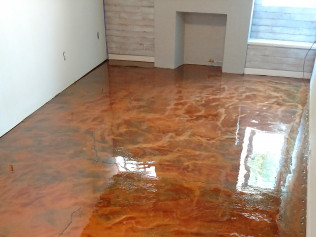 Copper Metallic Basement Floor